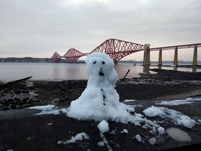 Snowman at the bridge